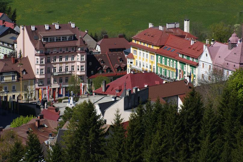 Hauptplatz Mariazell - Blick von der Sternwarte Mariazell
